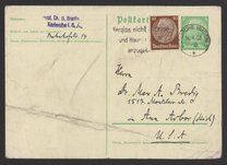 Postcard from Georg Bredig to Max Bredig, June 12, 1938