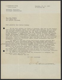 Letter from Charles Siebenmann to Max Bredig, December 28, 1938