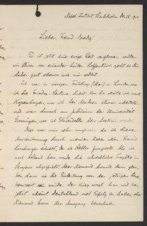Letter from Svante Arrhenius to Georg Bredig, December 1914