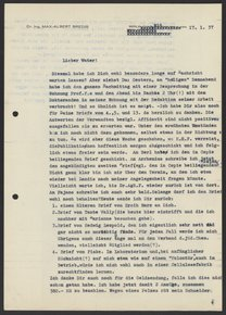 Letter from Max Bredig to Georg Bredig, January 1937