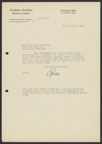 Letter from the German Consul to Max Bredig, July 21, 1938