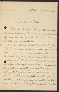Letter from Svante Arrhenius to Georg Bredig, April 1901
