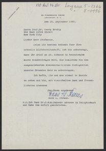 Letter from Hans A. Straus to Georg Bredig, September 16, 1940