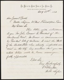 Letter from F. F. Claussen to James Curtis Booth, August 31, 1883