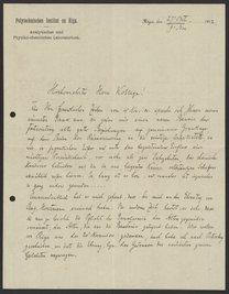 Letter from Paul Walden to Georg Bredig, October 1912