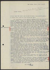 Letter from Max Bredig to Georg Bredig, December 1937