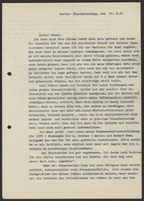 Letter from Max Bredig to Georg Bredig, August 1937